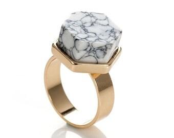 White Marble Ring