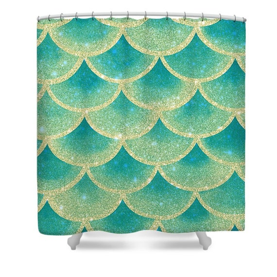Abstract Mermaid Scales Shower Curtain Teal Gold by FolkandFunky