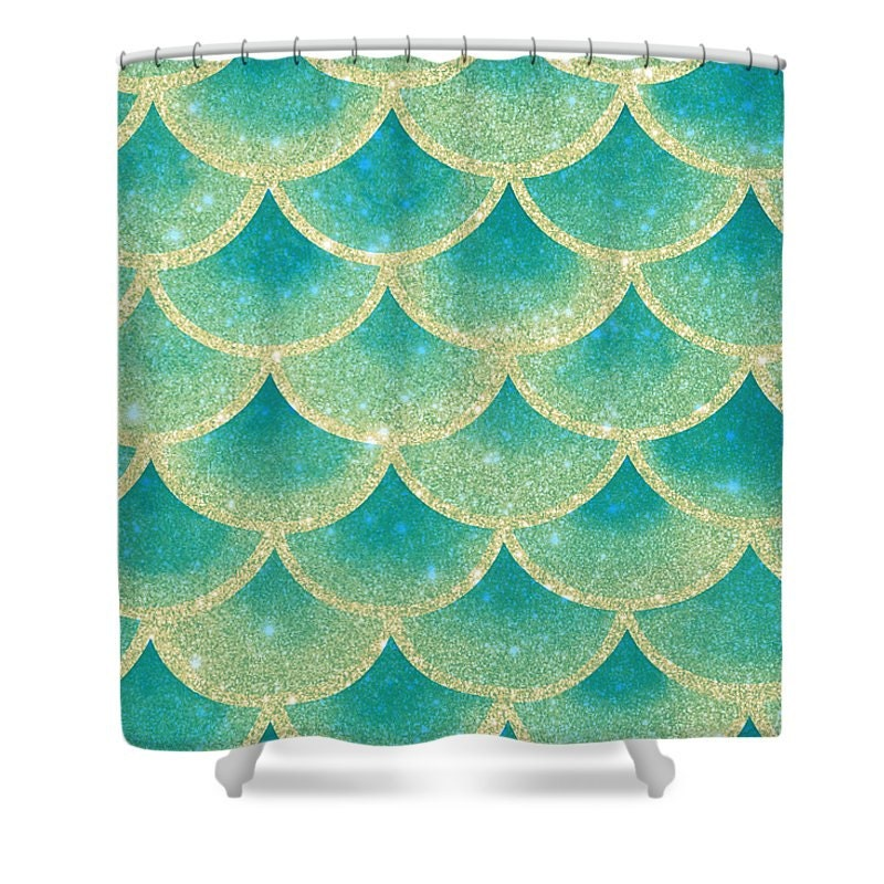 Abstract Mermaid Scales Shower Curtain Teal Gold Mystical