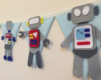 Robot themed bunting decoration