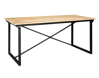 Bonsoni Baudouin Industrial Dining Table Made From Reclaimed Metal And Wood