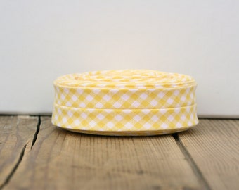"1/2"" or 3/8"" Double Fold Bias Tape: Yellow Gingham"
