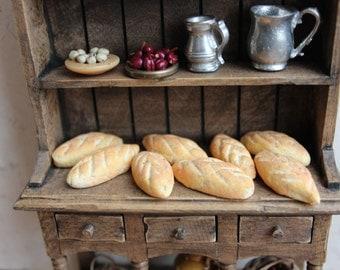 Wheat loaf 12th scale dollhouse bread, rustic, period dollshouse. Miniature food one inch scale.