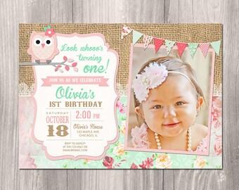 Owl birthday invitation, owl invitation, owl party, girl 1st birthday, first birthday invitation girl, digital, Printable Invitation