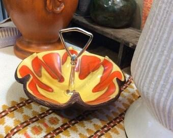 Vintage candy dish orange yellow brown cermaic