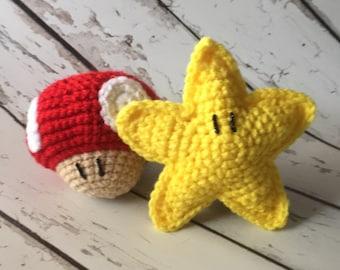 Super Mario Crochet Photo Prop, newborn photos, babys first photos
