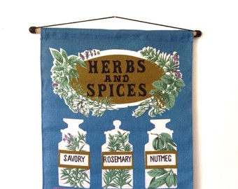 Vintage kitchen wall hanging, Ulster Irish linen herbs and spices 1960's wall hanging, unusual mid century kitchen decor