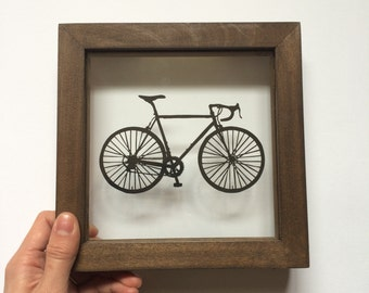 Handcut Bike in a Clear Wooden Frame