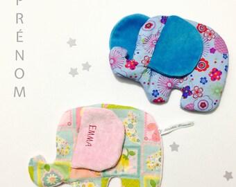 Doudou bébé éléphant tout doux en coton et velours 100% coton - éléphant - personnalisable prénom - fait main - éveil alaska dream