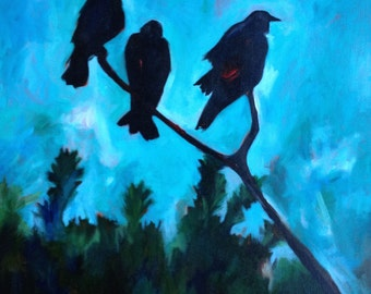 Four for Boys Crows Ravens Original Painting