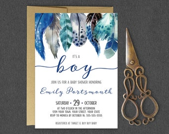 It's a Boy Baby Shower Invitation / Boho Feather Boy Baby Shower Invitation / Tribal Feather Baby Shower Invite / Boho Blue Shower Invite