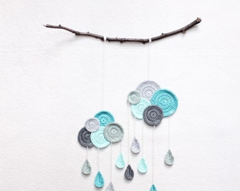Wall Hanging Clouds with Drops