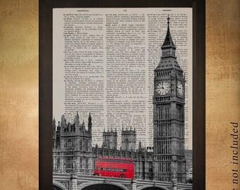 SALE - Ships Aug 27 - London Parliament Building Red Bus Dictionary Art Print England UK Britain Travel Gift Ideas Wall Art Decor da786