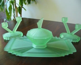 Art Deco Uranium Glass Dressing Table Set ... Bagley Frosted Green Glass ... 1940's ... Very Decorative, Very Art Deco ... Bedroom Decor