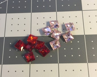 0.8cm by 0.8cm Pink&Red  Square Rhinestone