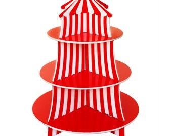 Fun Colorful Big Top Circus Carnival Theme Cupcake Display Stand Set Holds 24 Cupcakes!