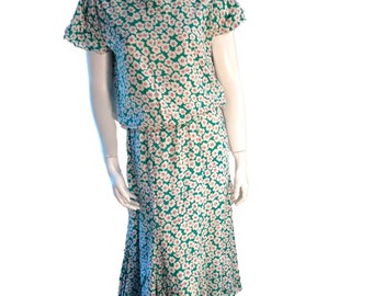 Plain Jane by Sweet Baby Jane Multicolor Green And White Floral Dress - Size 11 - Modern SZ 4