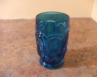 Vintage 1960s L. E. Smith Moon and Stars Blue Tumbler