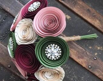 Wedding Bouquet - Bridal Flowers - Paper Flower Bouquet  - Rhinestone Bouquet - Bridal Flowers - Brooch Bouquet - Moss Green Wedding