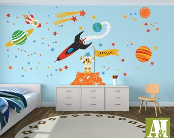 Custom Flag Name Outer Space Wall Decals   Astronauts, Rocket, Planets, Children  Wall Part 76