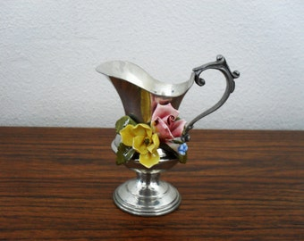 Peltro 95% Pewter Pitcher/Creamer/Vase With Flowers