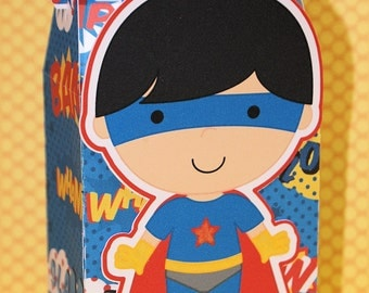 3D Super Boy Treat Boxes-Boy Treat Boxes-Super Boy Treat Box-Birthday Treat Boxes-Favor Boxes