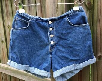 90s VINTAGE HIGH WAISTED denim shorts, dark wash/cuffed/buttons