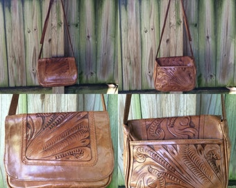 Vintage 70s TOOLED LEATHER PURSE