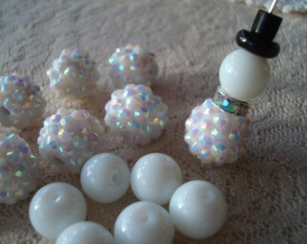 Snowman Earring Kits. 10 Complete Snowman Sets. Make 5 Pair! Rhinestone Gumballs and Spacers, Tiny Black Hats etc!. ~USPS Ship Rates/Oregon