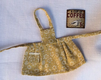 Miniature Dollhouse Vintage Inspired Apron with Bib - Age Yellow with Cream Flowers