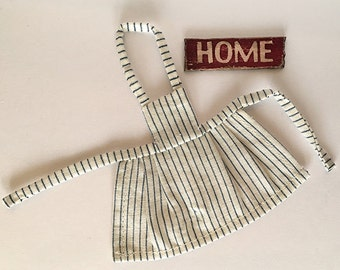 Miniature Dollhouse Vintage Inspired Apron with Bib - Creamy White with Blue Stripes