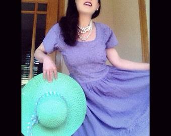 Purple embroidered cotton  bohemian maxidress vintage ladylike flowy daydress
