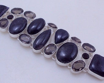 free shipping F-296 Stunning Black Jasper-Smoky .925 Silver Jewelry Handmade Bracelet 76 Gr.