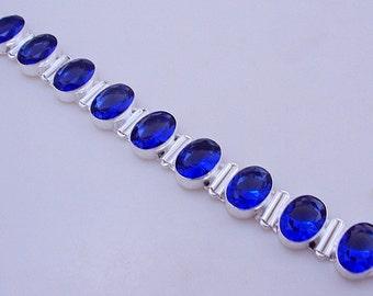 free shipping F-345 Stunning Iolite .925 Silver Handmade Jewelry Bracelet 42 Gr.