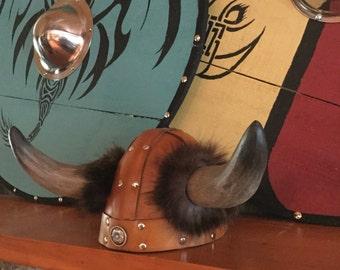 """Leather Horned Viking Helmet/Hat Small 20 3/4"""""""