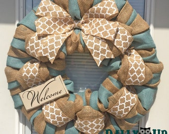Burlap Wreath, Everyday Wreath, Natural and Blue Burlap Wreaths, Wreath for All Year, Welcome Wreath, Winter Wreath, Blue Burlap Wreath