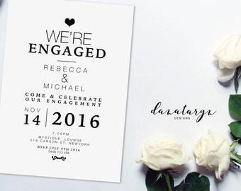 Printable Engagement Invitation - Classic Black DIY