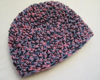 Blue pink beanie - crocheted beanie - crocheted hat