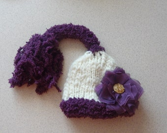 Ready to Ship Newborn Elf Hat Newborn Photo Props  GIFT Baby Elf Hat Gnome hat Pixie Hat Sweet Baby Elf Hat Beautiful Photo Prop flower hat