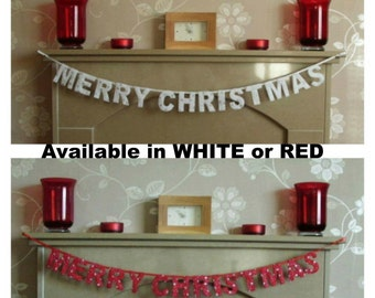 Merry Christmas Banner in white or red, Merry Christmas garland, Merry Christmas hanging sign