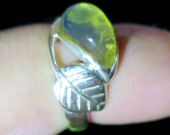 Dominican Crystal Clear Blue-ish Green Amber .925 Sterling Silver Ring #7.5