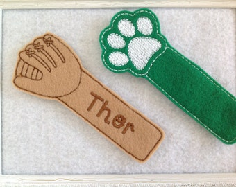 Felt Bookmarks , Paw Print Bookmark,  Baseball Glove Bookmark, Personailzed
