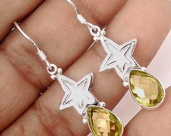 Earrings sterling silver .925 Topaz lemon