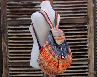 Hand Embroidered Hemp Hmong Backpack Colorful Vintage Hill Tribe
