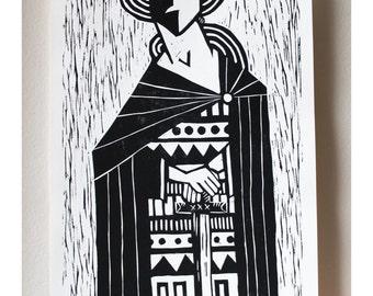 Elric Woodcut Print