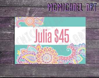Paisley Style Display Cards WITH Prices! - 4x6 inches