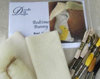 Punch Needle KIT ~ Bedtime Bunny - Primitive Bowl Filler or Shelf Sitter - Folk Art Rabbit - Needle Punch Pattern -Spring Easter PunchNeedle