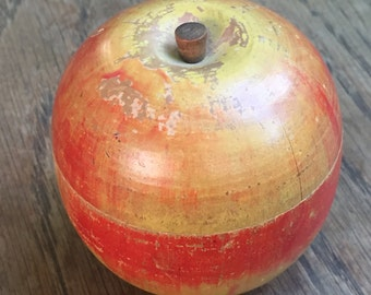 Vintage Hand Painted Apple Ring Box