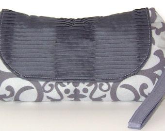Clutch Grey Pleated Damask Design Purse with Wrist Strap