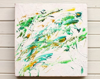 Green White Textured Original Abstract Painting Art Small